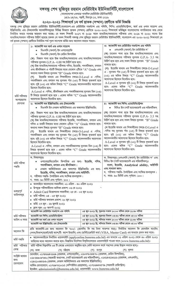 BSMRMU Admission Circular 2020-21
